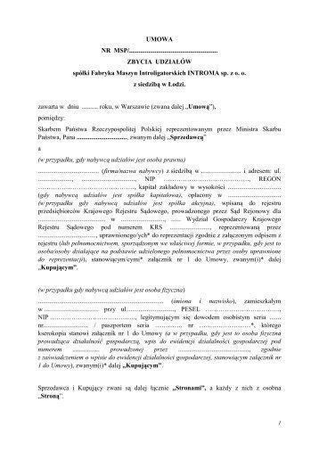Fabryka Maszyn Introligatorskich INTROMA sp. z o. o. - Ministerstwo ...