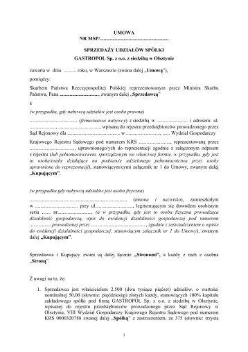 umowa - GASTROPOL Sp. z o.o. z siedzibą w Olsztynie