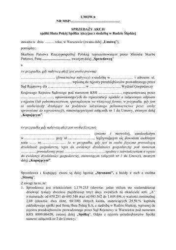 umowa - Huta Pokój SA w Rudzie Śląskiej - Ministerstwo Skarbu ...