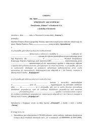 umowa sprzedaży - Destylernia Polmos w Krakowie S.A.