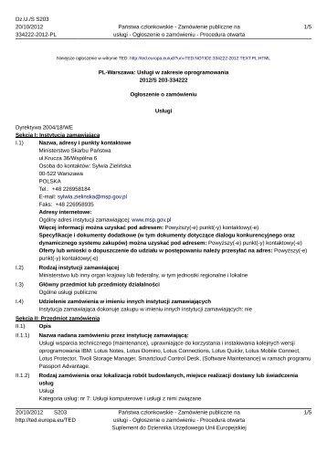 Usługi w zakresie oprogramowania - Ministerstwo Skarbu Państwa