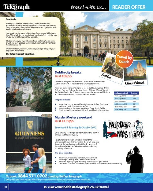 Travel With Us Belfast Telegraph Travel Reader Offers