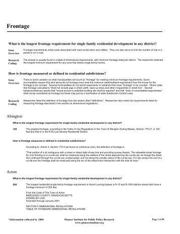 Frontage - Housing Regulation Database
