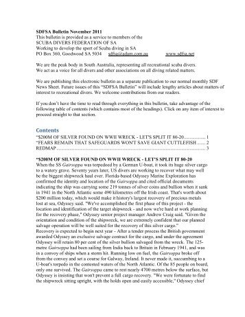 SDFSA Bulletin December 2009 - Scuba Divers Federation of SA