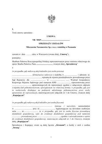 umowa - Mleczarnia Naramowice Sp. z o.o. z siedzibą w Poznaniu