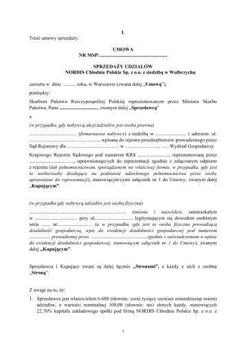 umowa - NORDIS Chłodnie Polskie Sp. z o.o. z siedzibą w Wałbrzychu