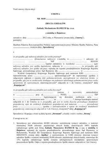 Treść umowy zbycia udziałów spółki Zakłady Mechaniczne ...