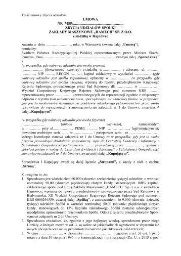 """Treść umowy zbycia udziałów spółki Zakłady Maszynowe """"Hamech"""""""