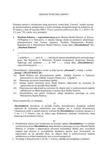 Ogólne warunki umowy - Ministerstwo Skarbu Państwa