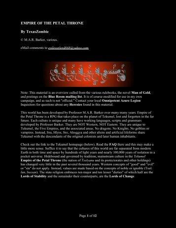 EMPIRE OF THE PETAL THRONE By ... - Texaszombie.com