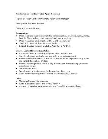 Job Description For Hotels Front Desk Agent Seasonal