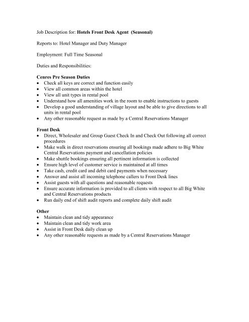 Job Description For Hotels Front Desk Agent Seasonal Reports To