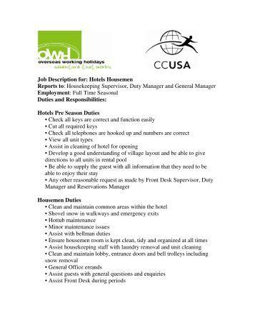 job description for hotels housemen reports to owh housekeeping job duties
