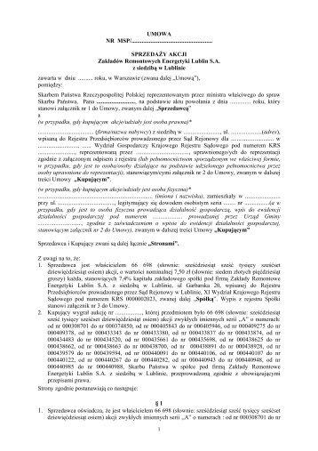 Treść umów sprzedaży akcji/udziałów - Ministerstwo Skarbu Państwa