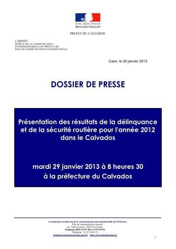 Bilan délinquance 2012 - Les services de l'État dans le Calvados