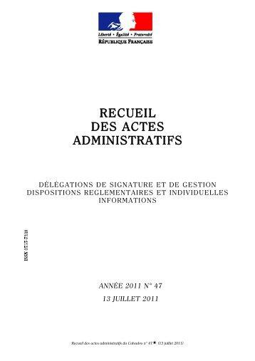 Recueil des actes administratifs n° 47 du 13 juillet 2011