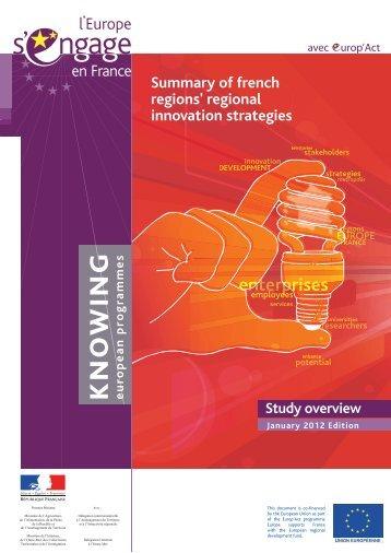 Summary of french regions' regional innovation ... - Europe en France
