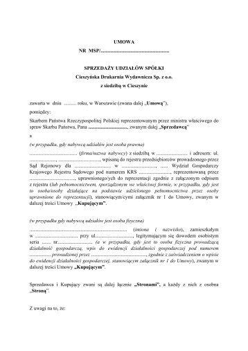 Cieszyńska Drukarnia Wydawnicza Sp. z o.o. - Ministerstwo Skarbu ...