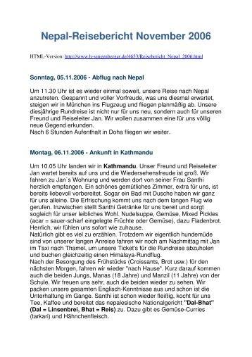 Nepal-Reisebericht November 2006 - Nepal Individuelle Rundreisen