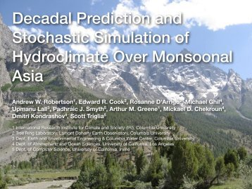 Decadal Prediction and Stochastic Simulation of Hydroclimate Over ...