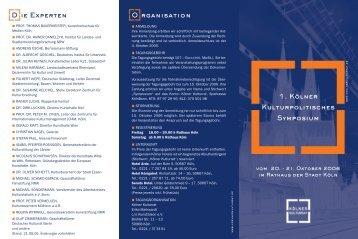 1. Kölner Kulturpolitisches Symposium O ... - Kölner Kulturrat
