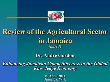 Review Of The Agricultural Sector In Jamaica - Knowledge Society ...