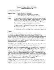 Spanish I Course Description - the Williams School Web Site