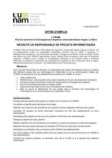offre d'emploi recrute un responsable de projets ... - L'UNAM