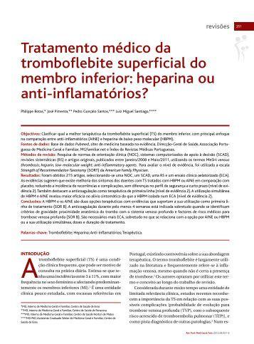 Tratamento médico da tromboflebite superficial do membro inferior ...