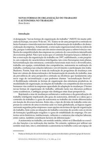 NOVAS FORMAS DE ORGANIZAÇÃO DO TRABALHO E ... - SciELO