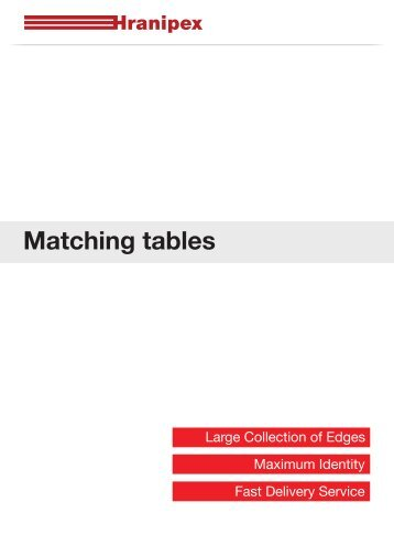 Matching tables - Hranipex