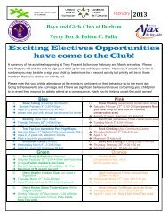 Boys and Girls Club of Durham Terry Fox & Bolton C. Falby Exciting ...