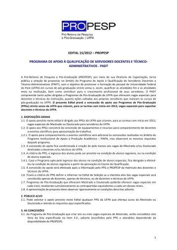 Visualizar o edital - Propesp - Universidade Federal do Pará