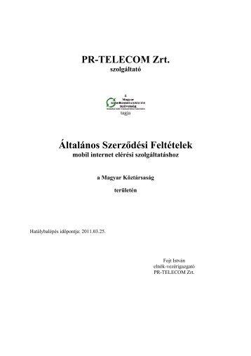 PR-TELECOM Zrt. Általános Szerződési Feltételek
