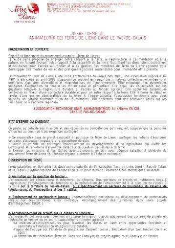 OFFRE D'EMPLOI ANIMATEUR(RICE) TERRE DE LIENS ... - Mres
