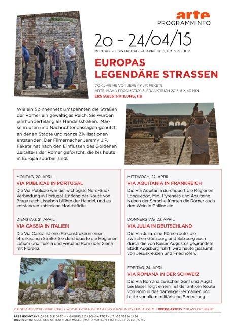 Europas legendäre Strassen - ARTE PRESSE