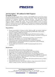 Job Description – RF millimetric R&D Engineer Grenoble, France