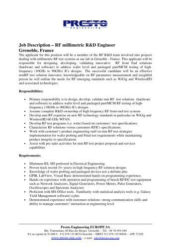 job description rf millimetric rd engineer grenoble france rf engineer job description - Rf Engineer Job Description