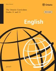 The Ontario Curriculum, Grades 11 and 12: English, 2007 (Revised)