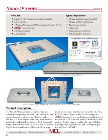 Nano-LP Series - piezo XYZ nanopositioning ... - Mad City Labs