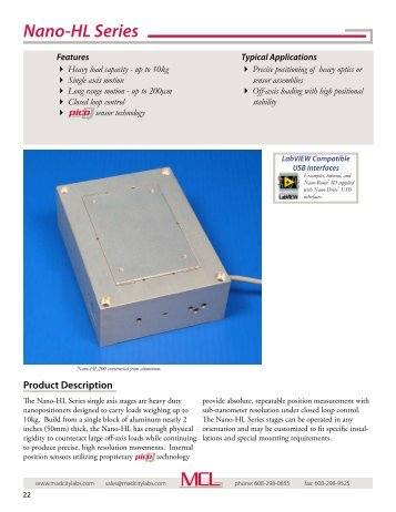 Nano-HL Series - high load piezo nanopositioning ... - Mad City Labs