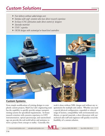 Custom nanopositioning systems - Mad City Labs