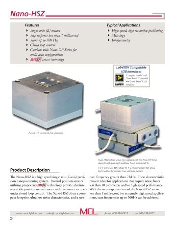 Catalog Pages - Mad City Labs