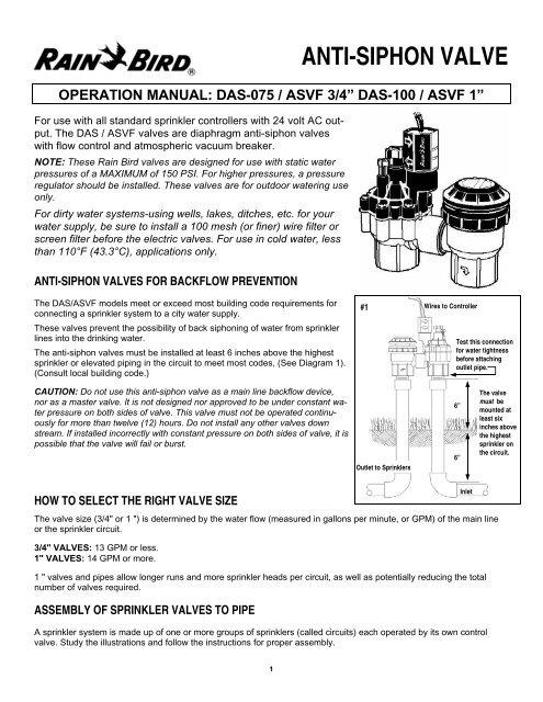 Rain Bird DAS-ASVF Electric Anti-Siphon Valve     - Irrigation Direct
