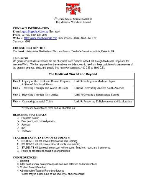 7 Grade Social Studies Syllabus CONTACT INFORMATION E Mail