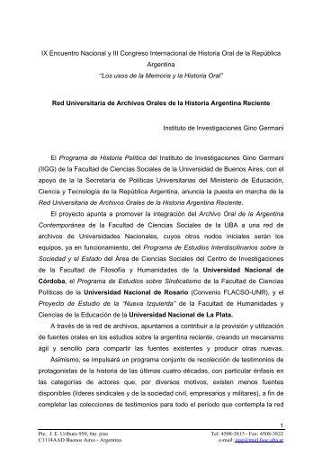 Red Universitaria de Archivos Orales de la Historia Argentina ...