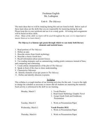 Freshman English Ms. Ledington Unit 6: The Odyssey Syllabus