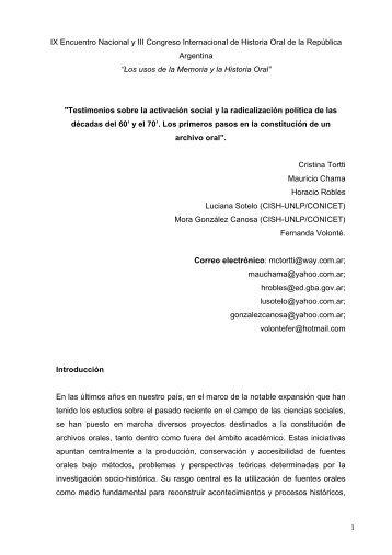Testimonios sobre la activación social y la radicalización política de ...