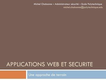 Applications WEB et sécurité