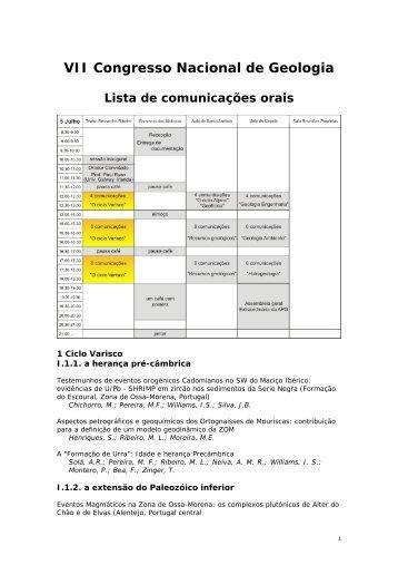 Lista de Comunicações - Centro de Geofísica de Évora